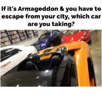 Family, Ferrari, and Friends: If it's Armageddon & you have to  escape from your city, which car  are you taking? Which one and why? (I think I'd take the blue Rolls Royce Dawn. It has room to save family-friends, to store stuff, and it's fast)... 1. Lamborghini Aventador... 2. Rolls Royce Ghost... 3. Ferrari 458 spyder... 4. Rolls Dawn... cartalk
