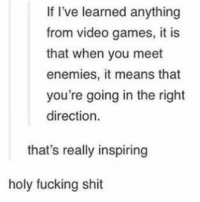 """Fucking, Shit, and Video Games: If I've learned anything  from video games, it is  that when you meet  enemies, it means that  you're going in the right  direction.  that's really inspiring  holy fucking shit <p>Makes us stronger via /r/wholesomememes <a href=""""http://ift.tt/2k1coR1"""">http://ift.tt/2k1coR1</a></p>"""