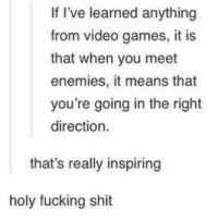Fucking, Shit, and Video Games: If I've learned anything  from video games, it is  that when you meet  enemies, it means that  you're going in the right  direction.  that's really inspiring  holy fucking shit <p>Makes us stronger</p>