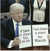 Blake, For, and Then: If Jake Then Blake  is short is short  for  for  acob Blacob <p>He is going off</p>