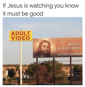 Jesus, Good, and Video: If Jesus is watching you knovw  it must be good  ADULT  VIDEO  JESUS  IS WATCHING  The Roman Catholic Churches of San