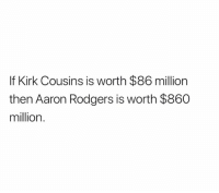 Aaron Rodgers, Kirk Cousins, and Cousins: If Kirk Cousins is worth $86 million  then Aaron Rodgers is worth $860  million.