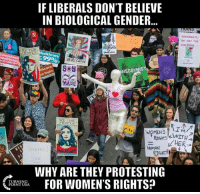 Memes, 🤖, and Usa: IF LIBERALS DON'T BELIEVE  IN BIOLOGICAL GENDER  PEOPLE  ealth care  99%  Health car  Soy  ISOGYNIS  Rig  GHT  WE PEOPLE  RIGHTS  HUMAN  CHEERS  WHY ARE THEY PROTESTING  FOR WOMEN'S RIGHTSP  TURNING  POINT USA  IMMIGRANTS  WE GET THE  JOB DONE  HER