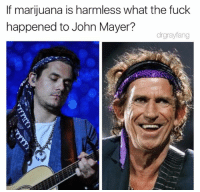 Fucking, John Mayer, and Fuck: If marijuana is harmless what the fuck  If marjuana is ln Mayer?  happened to John Mayer?  drgrayfang @johnmayer you had so much potential before you tried jazz cabbage