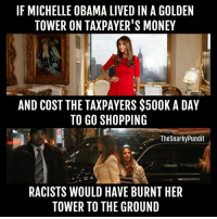 The hypocracy! The irony!  < Snarky Pundit> LIKE and Follow for more!: IF MICHELLE OBAMA LIVED IN A GOLDEN  TOWER ON TAXPAYER'S MONEY  AND COST THE TAXPAYERS $500K A DAY  TO GO SHOPPING  The Snarky Pundit  RACISTS WOULD HAVE BURNT HER  TOWER TO THE GROUND The hypocracy! The irony!  < Snarky Pundit> LIKE and Follow for more!