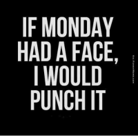 Monday Memes: IF MONDAY  HAD A FACE,  I WOULD  PUNCH IT