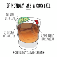 is it over yet (🎨: @courregedesign): IF MONDAY WAS A COCKTAIL  @bustle  GARNISH  WITH LIME  2 DASHES  OF ANXLETY  1 PART SLEEP  DEPRIVATION  *DEFINITELY SERVED SHAKEN* is it over yet (🎨: @courregedesign)