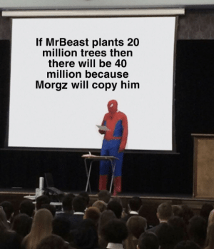 Trees, Him, and Will: If MrBeast plants 20  million trees then  there will be 40  million because  Morgz will copy him Do it MrBeast. No balls.