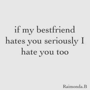 You, Seriously, and Hate: if my bestfriend  hates you seriously I  hate vou too  Raimonda.B