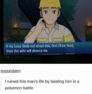 Nice: If my boss finds out about this, first Ill be fired  then the wife will divorce me.  nugundam:  I ruined this man's life by beating him in a  pokemon battle Nice