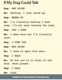 Up Dog: If My Dog Could Talk  Dog WAT DOING  Me: Nothing. I just stood up.  Dog: WHERE GO  Me: I'm literally walking 3 feet  away. I'm not even leaving the room.  Dog CAN I COME  Me: I mean sure but I'm literally  just  Dog:  I COME TOO  Dog: WAT DOING  Me: I need to open this door  Dog:  I HALP  Me: No but you're in front of the  door. Move please  Dog: I HALP  Me  Sigh  SHARED ON I'M NOT RIGHT IN THE HEAD.COM