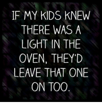 Memes, Kids, and 🤖: IF MY KIDS KNEW  THERE WAS A  LIGHT IN THE  OVEN, THEY'D  LEAVE THAT ONE  ON TOO