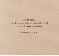 dreams come true: If not here,  I wish somewhere in parallel world  all our dreams come true  Ofareena.aliya