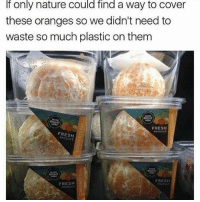 Fresh, Memes, and Nature: If only nature could find a way to cover  these oranges so we didn't need to  waste so much plastic on them  RIGHT  FRESH  FRESH  FRESH  FRESH 🤣Damn