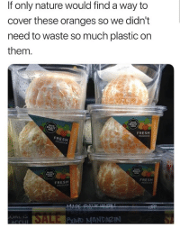 Fresh, Memes, and Nature: If only nature would find a way to  cover these oranges so we didn't  need to waste so much plastic on  them  RIGHT  RIGHT  FRESH  PRODUCE  FRESH  PRODUCE  RIGHT  MADE  FRESH  FRESH  PRODUCE WTH