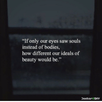 "Bodies , Saw, and How: ""If only our eyes saw souls  instead of bodies,  how different our ideals of  beauty would be.""  29"