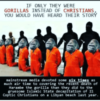 Memes, Beach, and Death: IF ONLY THEY WERE  GORILLAS INSTEAD OF CHRISTIANS  YOU WOULD HAVE HEARD THEIR STORY  mainstream media devoted some six times as  much air time to covering the recent death  Harambe the gorilla than they did to the  gruesome Islamic State decapitation of 21  Coptic Christians on a Libyan beach last year. HillaryForGitmo HillaryForPrison HillaryforPrison2016 NeverForgetBenghazi UncleSamsMisguidedChildren FuckISIS FuckDaesh USMC ZeroFucks USMCLIFE Veteran USA Grunts INFIDEL USMCVETERAN ZeroFucks SemperFidelis NRA Benghazifour DontTreadOnMe MolonLabe 2A USMarines 3Percenter 03Life 0311 SecondAmendment Extortion17 Trump2016 USMCNATION conservative