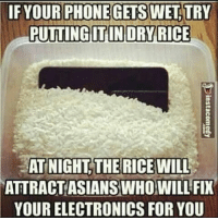 IF OUR PHONE GETS WET TRY  PUTTINGITIN DRY RICE  AT NIGHT THE RICEWILL  ATTRACT ASIANS WHO WILL FIX  YOUR ELECTRONICS FOR YOU Good night sweet dreams;) games lol funny gaming dank meme dankmemes lit like4like ftw games videogames friends elgato youtube battlefield1 best memes dope youtube fallout like share love memes humor dankmemes callofduty bye like comment comedian lmao followme hot