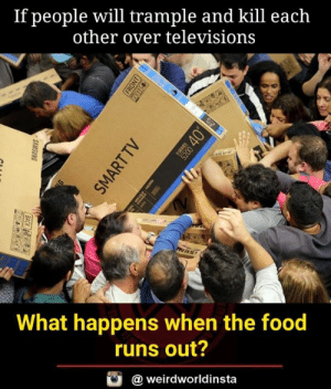 Food, Memes, and 🤖: If people will trample and kill each  other over televisions  es  What happens when the food  runs out?  @weirdworldinsta