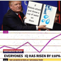 """Andrew Bogut, Donald Trump, and Lol: If  Robots attack  just throw a  cup of water  on  them  LIVE  -BREAKING NEWS  EVERYONES IQ HAS RISEN BY 110%  22:15  """"JUST LOB WATER ON THEM LOL"""" SAYS DONALD TRUMP"""