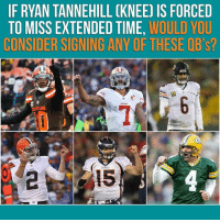 Memes, Brett Favre, and Time: IF RYAN TANNEHILL CKNEE) IS FORCED  TO MISS EXTENDED TIME, WOULD YOU  CONSIDER SIGNING ANY OF THESE QB's?  AND Gotta figure Brett Favre at least listens to the call, right?