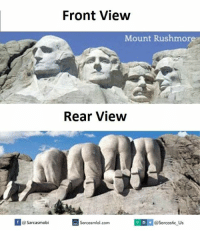 Views,  Rear View, and Mount: If Sarcasmobi  Front View  Mount Rushmore  Rear View  V @sarcastic Us  Sarcasmlol.com
