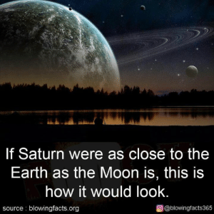 Memes, Earth, and Moon: If Saturn were as close to the  Earth as the Moon is, this is  how it would look  source: blowingfacts.org  O@blowingfacts365