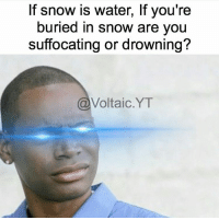 """Memes, Omega, and 🤖: If snow is water, f you're  buried in snow are you  suffocating or drowning?  Voltaic YT The world may never know... 😂 ➖➖➖➖➖➖➖➖➖➖➖➖ New follower? Welcome to my page! ➖➖➖➖➖➖➖➖➖➖➖➖ Sponsored by @gaming.Accessories 🚨Use code """"omega"""" for 5% off🚨 (free shipping anywhere in the U.S.) ➖➖➖➖➖➖➖➖➖➖➖➖ Follow my other page ↓ @tylerputnam2.0 ➖➖➖➖➖➖➖➖➖➖➖➖ ⬇Ignore These⬇ gamer gaming games cod callofduty blackops3 fallout4 darksouls3 xbox playstation youtube youtuber meme blackops2 codmeme funnymeme codghosts dankmemes gamingmeme modernwarfare pokemongo runescape"""