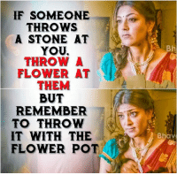 Memes, Flower, and 🤖: IF SOMEONE  THROWS  A STONE AT  YOU,  THROWA  FLOWER AT  THEM  BUT  REMEMBER  TO THROW  T WITH THE  FLOWER POT  Bhav  8