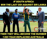 Memes, South Africa, and 🤖: IF SOUTH AFRICA  WIN THE LASTODIAGAINST SRI LANKA  Dialog  RESAN  NE  ES AND  LINE  AND  Cricket  Shots  THEN THEY WILL BECOME THE NUMBER  1 ODI TEAM REPLACING AUSTRALIA Can they do it?????