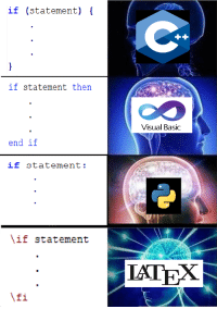 Language, Visual Basic, and Basic: if (statement) [  if statement then  Visual Basic  end if  if statement:  if statement  IATEX  Ifi Readability is essential to a successful language