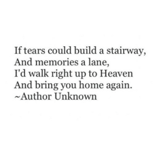 https://iglovequotes.net/: If tears could build a stairway,  And memories a lane,  I'd walk right up to Heaven  And bring you home again  Author Unknown https://iglovequotes.net/