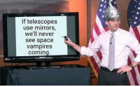 Gif, Tumblr, and Blog: If telescopes  use mirrors,  we'll never  see space  vampires  coming frikiskrew: No le falta razón, no le sobra razón.