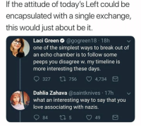 (GC): If the attitude of today's Left could be  encapsulated with a single exchange,  this would just about be it.  Laci Green Ο @gogreen 1 8 . 1 8h  one of the simplest ways to break out of  an echo chamber is to follow some  peeps you disagree w. my timeline is  more interesting these days.  327 t0 756 4,734  Dahlia Zahava@saintknives 17h  what an interesting way to say that you  love associating with nazis. (GC)
