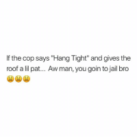 "Jail, Memes, and 🤖: If the cop says ""Hang Tight"" and gives the  roof a lil pa.. Aw man, you goin to jail bro Mannnnn"