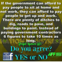 YES!: If the government can afford to  pay people to sit at home and  not work, they can afford to pay  people to get up and work.  There are plenty of ditches to  dig, roads to pave, and  buildings to paint. Instead of  paying government contractors  6 figures to take 10 times as  long  ean lames %  Do you agree?  t  、  NATION  IN  DISTRESS  AFFa  MERICA'S  FREEDOM  facebook YES!