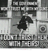 Guns, Memes, and Nope: IF THE GOVERNMENT  WONT TRUST ME WITH MY GUNS  IDONT TRUST THEM  WITH THEIRS  PICTUREQU閈TES.comし Nope.