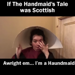 flexiblefish: The funniest thing I've seen this week on Twitter. By Scottish standup comedian  Ashley Storrie. (@ashleystorrie on Twitter): If The Handmaid's Tale  was Scottish  Awright em... l'm a Haundmaid flexiblefish: The funniest thing I've seen this week on Twitter. By Scottish standup comedian  Ashley Storrie. (@ashleystorrie on Twitter)