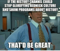 the history channel: IF THE HISTORY CHANNEL COULD  STOPGLORIFYINGREDNECKICULTURE  AND SHOWPROGRAMSABOUT HISTORY  THAT D BE GREAT  imgflip.com