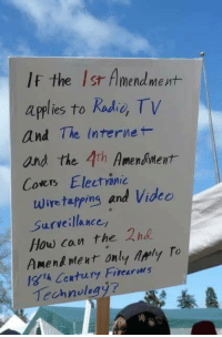 Internet, Memes, and 🤖: If the Isr Almendmevt-  applies to Radie Tv  and The Internet-  and the 4th Amendment  Coers Electónic  Wire tapping and Videc  Surveillance  How can the 2nd  Amenk Ment only Arly To  igth Century Firearms  Technolegy7 Exactly!