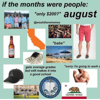 "Instagram, School, and Sorry: if the months were people:  only s2007"" august  @woahtherememes  243  ""babe""  ""sorry i'm going to work c  gets average grades  but still makes it into  a good school  .OF.  CALIFORNIA REPUBLIC  BAR 2,285 Likes, 36 Comments - Fish (@slightlyanxiousfish) on Instagram: ""FYI: these are not meant to be how people born in ____ month act. It is how the literal month would…"""
