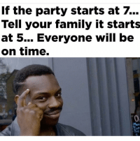 Smartest thing ever! 😂 MexicansProblemas: If the party starts at 7.  Tell your family it starts  at 5... Everyone will be  on time.  Fri Smartest thing ever! 😂 MexicansProblemas