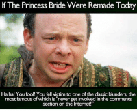 """Internet, Memes, and Princess: If The Princess Bride Were Remade Today  Ha ha! You fool! You fell victim to one of the classic blunders, the  most famous of which is """"never getinvolved in the comments  section on the Internet!"""""""