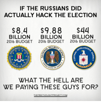 Fbi, Memes, and Budget: IF THE RUSSIANS DID  ACTUALLY HACK THE ELECTION  $8.4 $9.88  $44  BILLION  BILLION  BILLION  2016 BUDGET 2016 BUDGET 2016 BUDGET  SECURIT  KELLIGEM  MENT OF  INVES  EAU or  TE OF  STATES OF  WHAT THE HELL ARE  WE PAYING THESE GUYS FOR?  THEFREETHOUGHTPROJECT.COM Why is noone talking about this?!   FBI: http://bit.ly/2jAUgyW NSA: http://bit.ly/2jzES1S CIA: http://nyti.ms/2j5viHq Join Us → The Free Thought Project