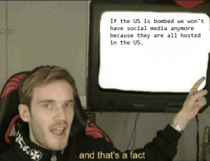 WWIII: If the US is bombed we won't  have social media anymore  because they are all hosted  in the US.  and that's a fact WWIII
