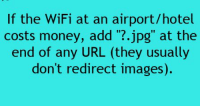 """If the WiFi at an airport/hotel  costs money, add  jpg"""" at the  end of any URL (they usually  don't redirect images RT @TheDIYHacks:"""