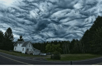 America, Definitely, and Heaven: If there is a heaven, and Van Gogh is up there, then he's definitely painting the floor again. These are undulatus asperatus clouds that look dark and stormy, but typically vanish before any inclement weather. They are particularly common over the plains states in America. Photo Credit: Jesse Klein Science Clouds Weather Sky