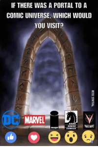 IF THERE WAS A PORTAL TO A  COMIC UNIVERSE, WHICH WOULD  YOU VISIT?  MARVEL  DARK  VALIANT  HORSE  image  COMICS