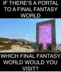 I'd definitely head to Zanarkand!: IF THERE'S A PORTAL  TO A FINAL FANTASY  WORLD  WHICH FINAL FANTASY  WORLD WOULD YOU  VISIT? I'd definitely head to Zanarkand!