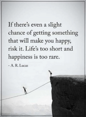 Memes, Happy, and Happiness: If there's even a slight  chance of getting something  that will make you happy,  risk it. Life's too short and  happiness is too rare.  A. R. Lucas
